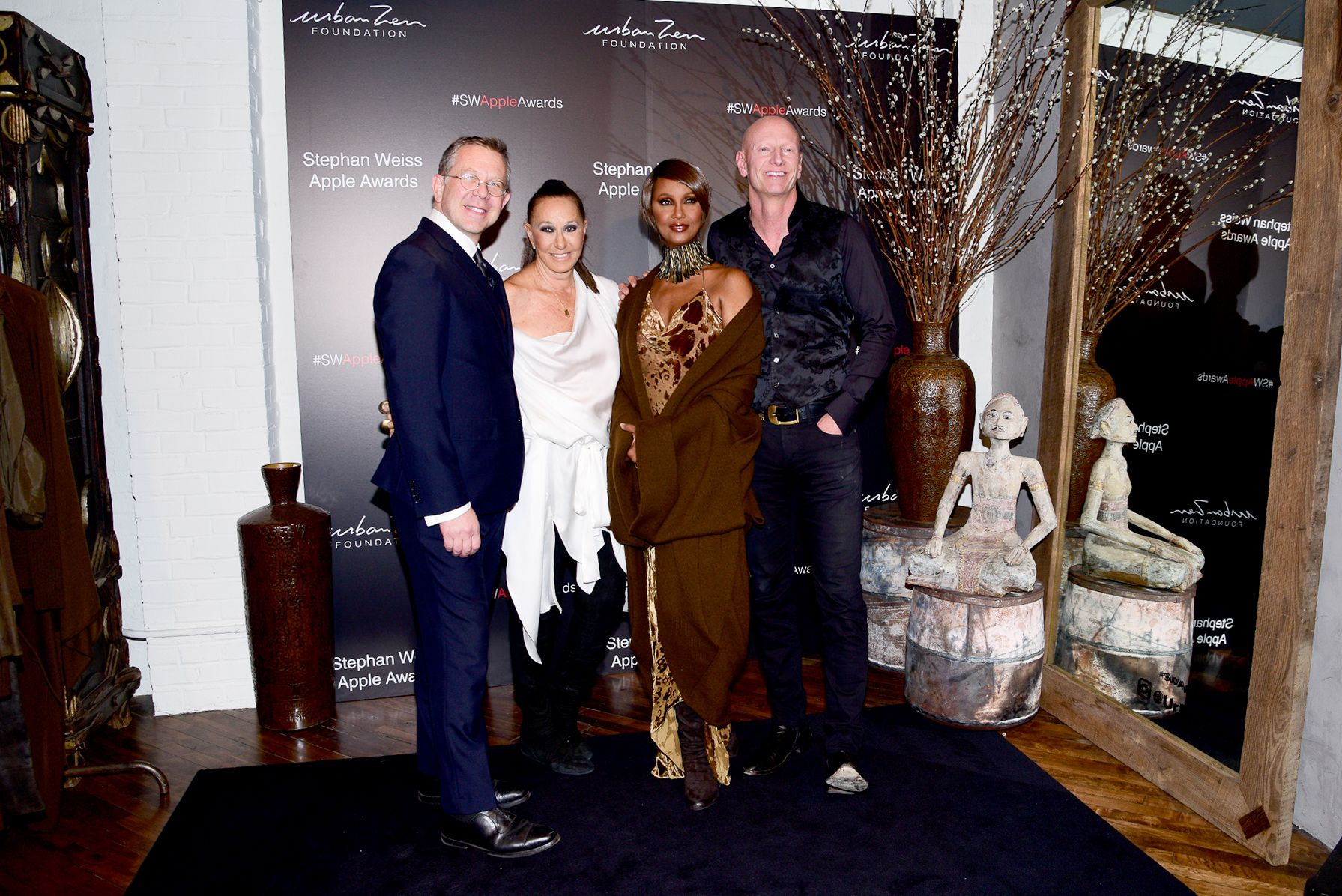 Joel Towers, Donna Karan, Iman, Jimmy NelsonStephan Weiss Apple Awards, New York, USA - 24 Oct 2018