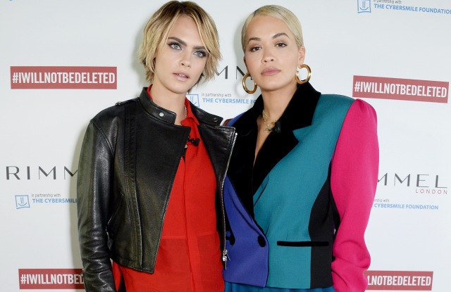 LONDON, ENGLAND - OCTOBER 23:  Cara Delevingne and Rita Ora pictured at the launch of #IWILLNOTBEDELETED campaign by Rimmel, part of global beauty company Coty, to tackle the issue of beauty cyberbullying. The campaign is part of Coty's commitment to promote diversity of beauty and fight prejudice and discrimination, at Mondrian Hotel on October 23, 2018 in London, England  (Photo by David M. Benett/Dave Bennett/Getty Images for Coty/Rimmel)