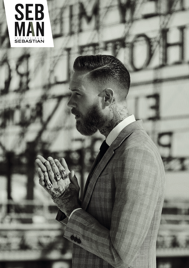 British model, biker and producer Billy Huxley in the Seb Man ad campaign.