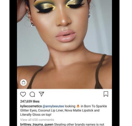 Makeup artist Analese Redman models Kylie Cosmetics Born to Sparkle eyeshadow on Instagram.