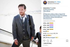 FC Barcelona's Lionel Messi in his Thom Browne uniform.