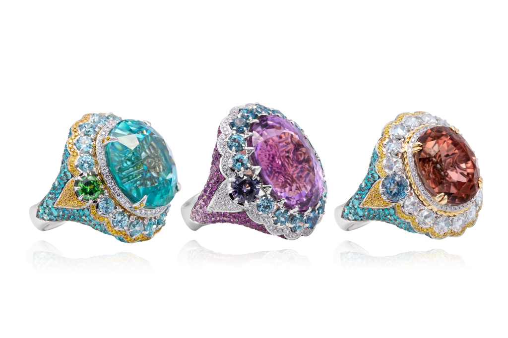 "Rings from Alessio Borghi's ""Peacock Dance"" collection"