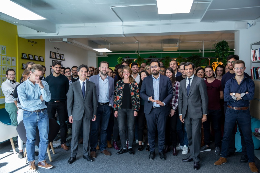 French digital minister Mounir Mahjoubi at Galeries Lafayette Plug and Play