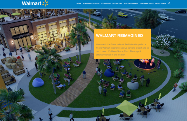 A view of a Walmart town center from the retailer's Walmart Reimagined web site.
