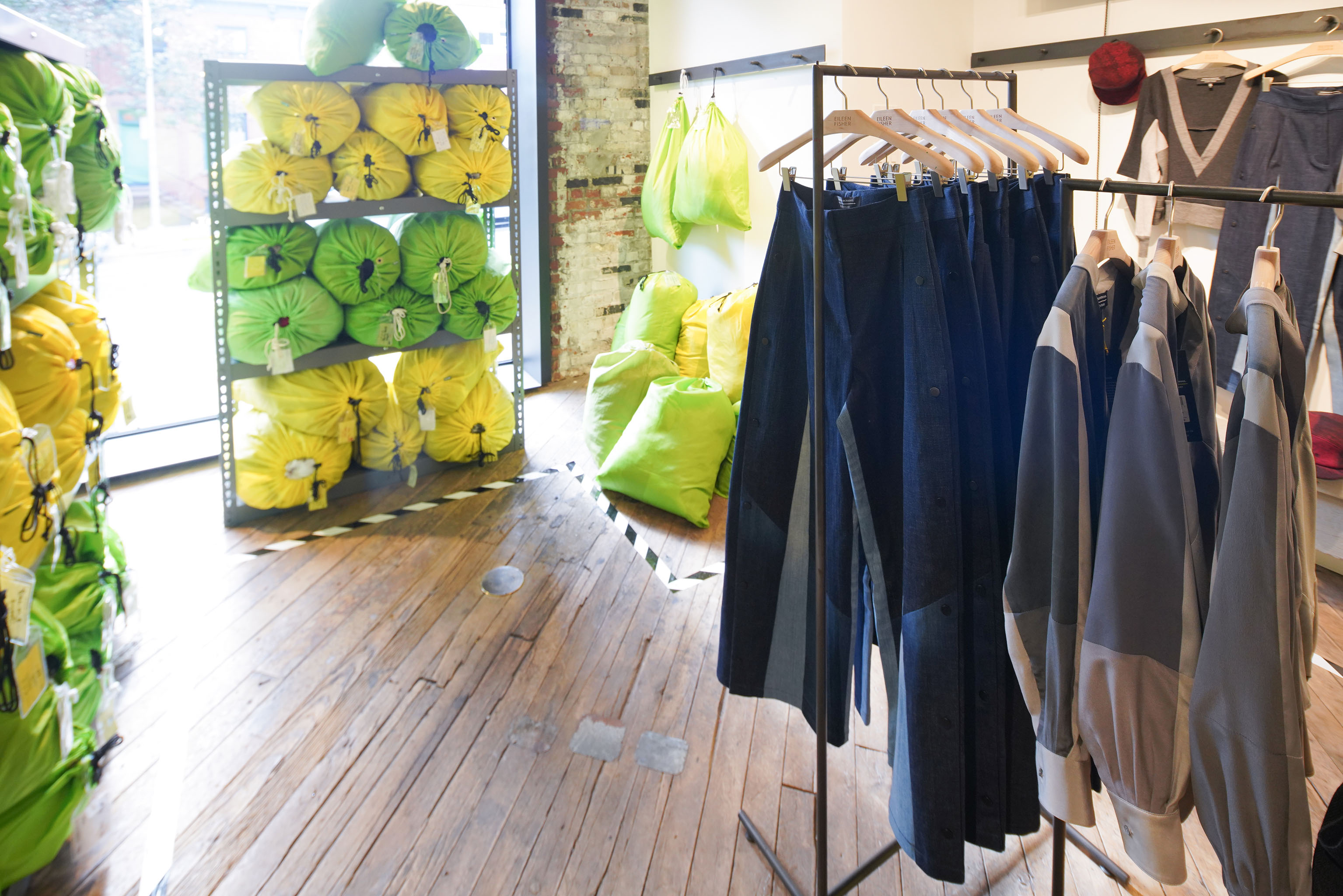 A view of the Public School x Eileen Fisher area at Making Space in Brooklyn.