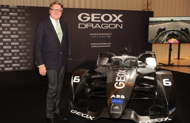 Mario Moretti Polegato with the new Geox Dragon racing car.