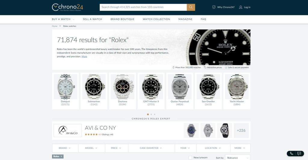 Chrono24 offering of Rolex watches.