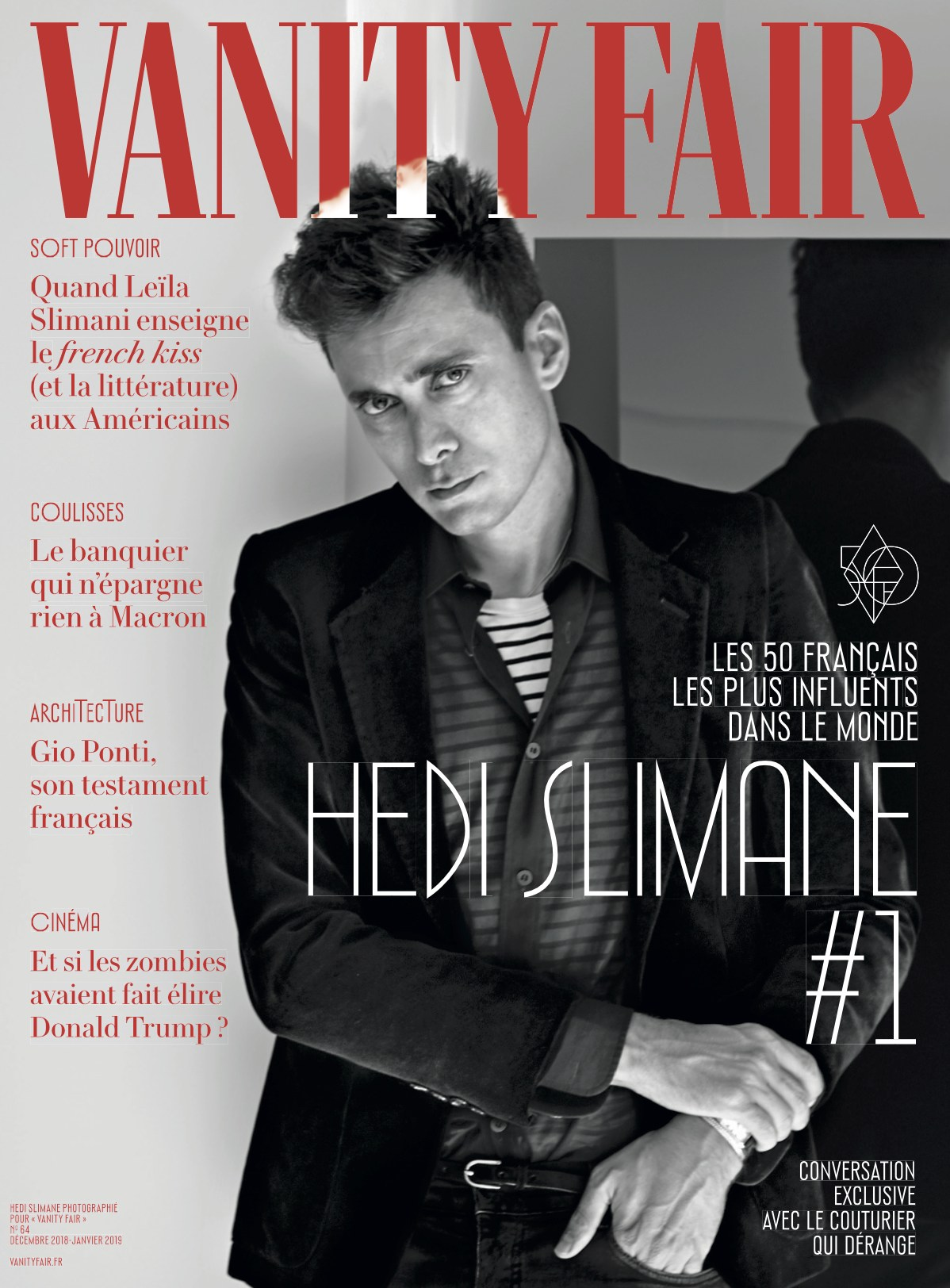 Hedi Slimane on the cover of the december issue of Vanity Fair France