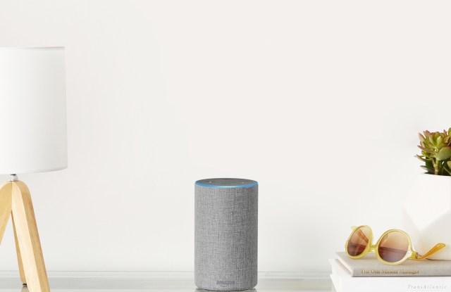 Amazon's latest Alexa-powered Echo, in light gray.