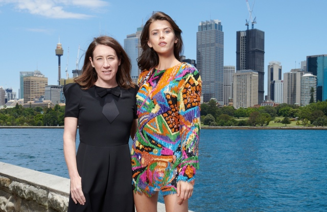 Vogue Australia editor-in-chief Edwina McCann with model Georgia Fowler