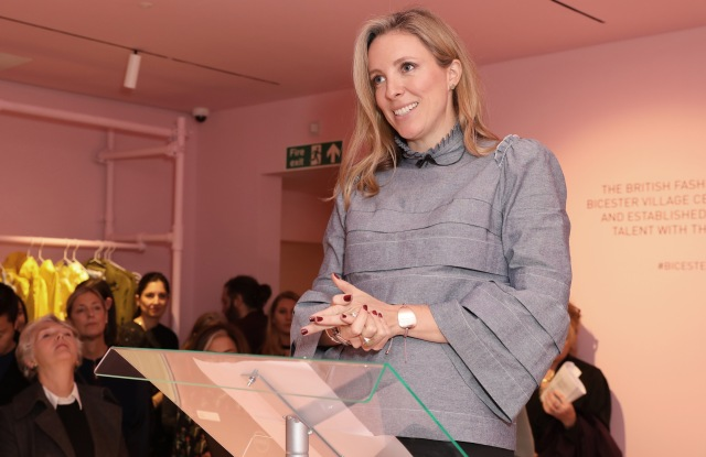 Stephanie Phair speaking at the Bicester Village x BFC designer pop-up
