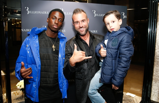 Timothy Weah, Phillip Plein and Romeo Prince Plein at the Billionaire store in Paris