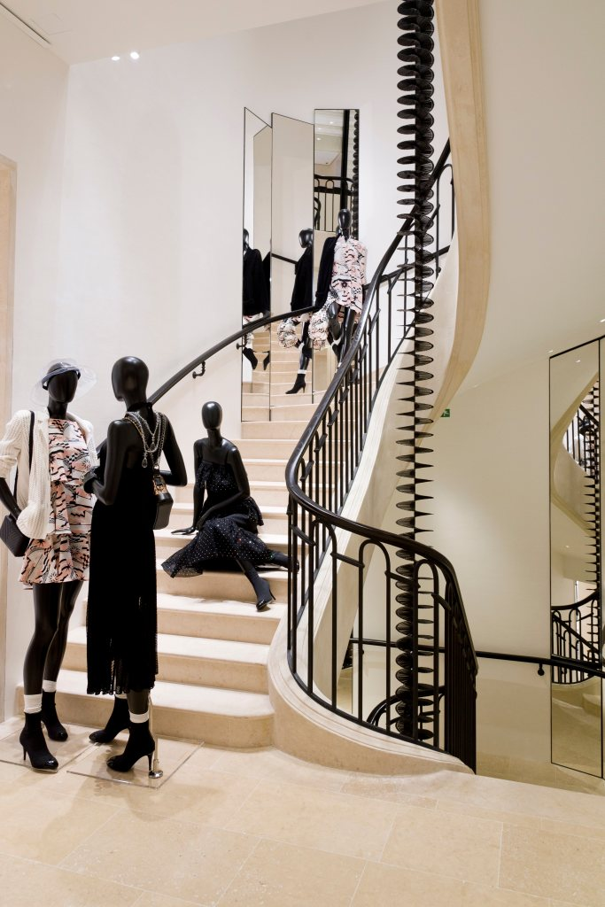 A sculpture by Gregor Hildebrandt in the staircase of Chanel's new Paris flagship.