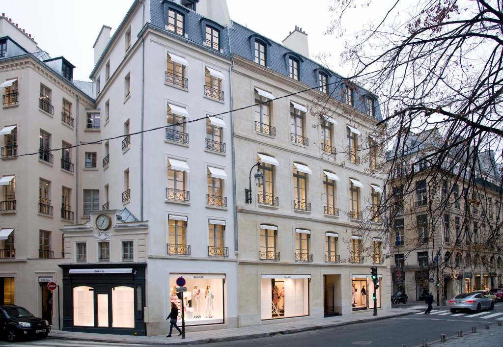 The facade of Chanel's new flagship store in Paris.