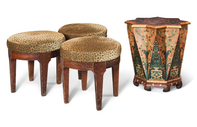 Annabel's auction - three leopard print velvet covered stools