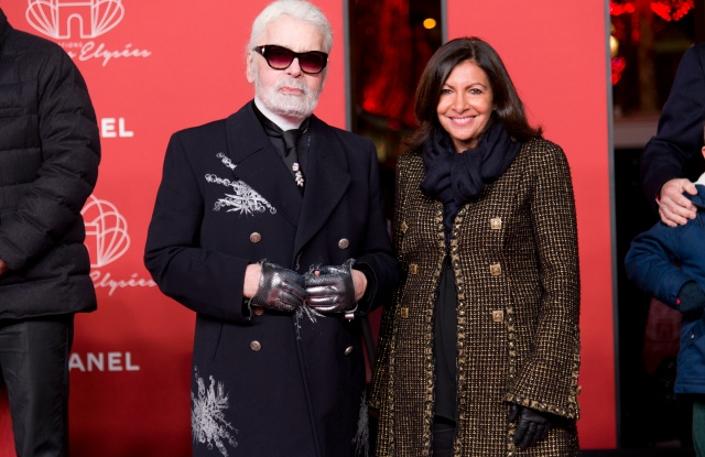 Karl Lagerfeld and Anne Hidalgo at the inauguration of the holidays lights on the Avenue des Champs-Elysées.