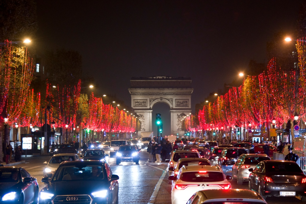 Launch of Xmas Lights on the Champs Elysees with Karl Lagerfeld