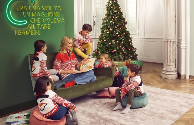 Frida Giannini sporting the Christmas jumper she designed for OVS to support Save The Children.