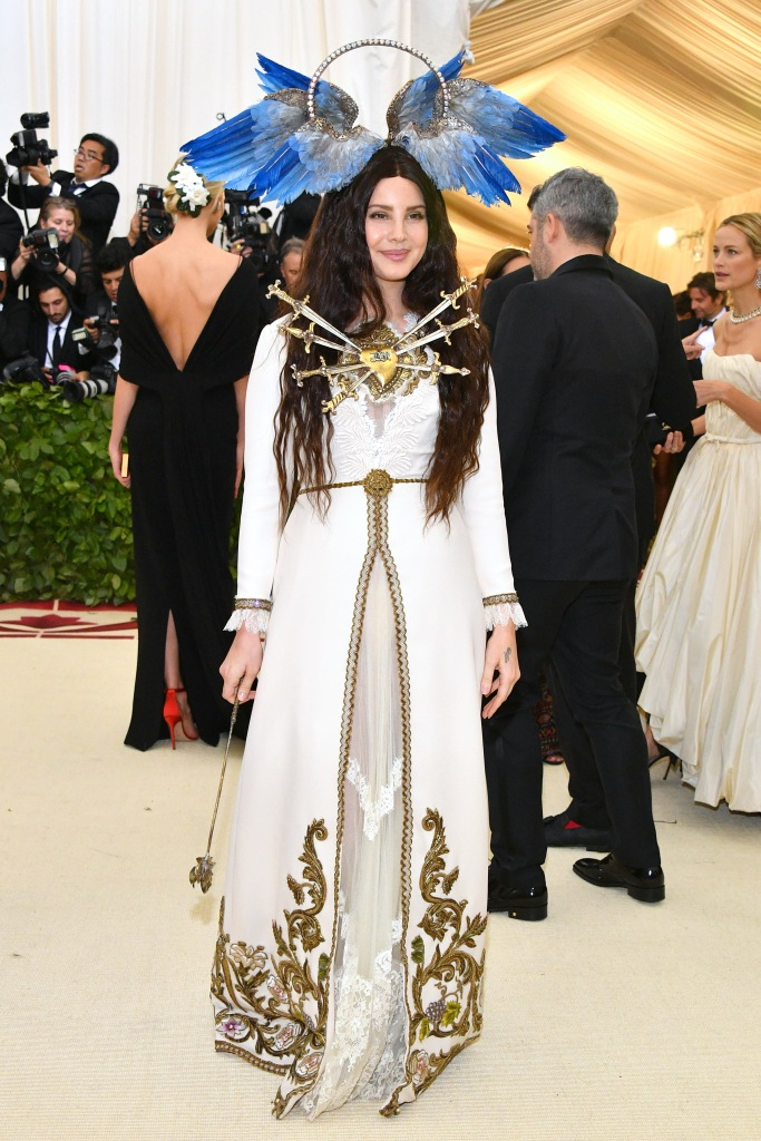 Lana Del Rey attends the Heavenly Bodies: Fashion & The Catholic Imagination Costume Institute Gala at The Metropolitan Museum of Art on May 7, 2018 in New York City. (Photo by Dia Dipasupil/WireImage)