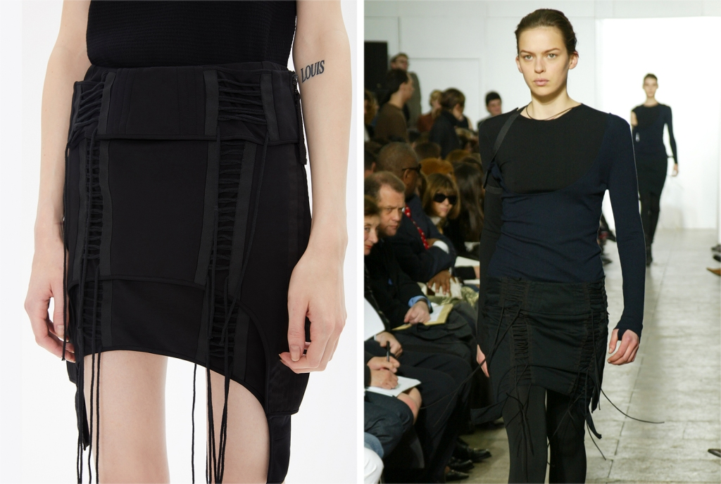 Right: Helmut Lang RTW Fall 2003; Left: Helmut Lang re-edition