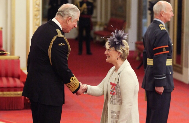 Entrepreneur Jo Malone is made a CBE (Commander of the Order of the British Empire) by the Prince of Wales at Buckingham Palace