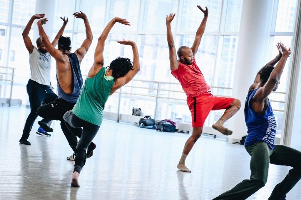 "Dancers in rehearsal for ""Juba."""