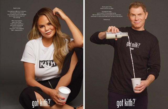 Chrissy Teigen and Bobby Flay in Kith Treats x Got Milk? campaign