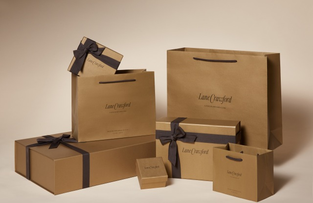 The new, more eco-friendly Lane Crawford packaging.