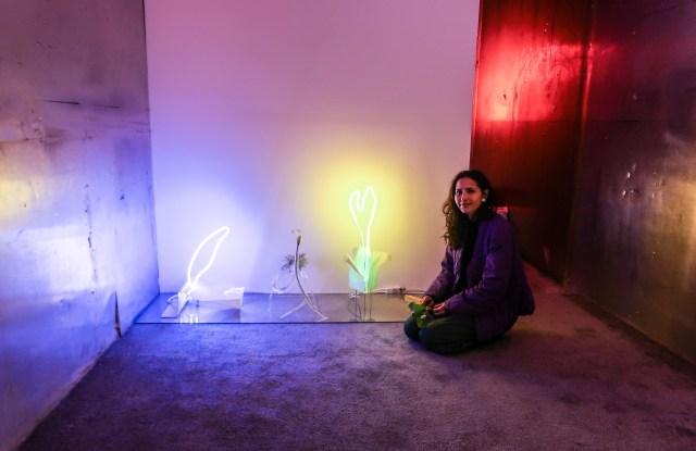 Mariko Makino with her neon sculptures.
