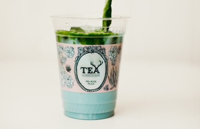 Alfred's Matcha in Blue is served at Barneys.