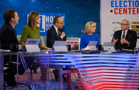 Brokaw with fellow NBC News anchors, from left to right, Chuck Todd, Savannah Guthrie, Lester Holt and Andrea Mitchell and guest Tom Brokaw, during midterm election coverage in 2018.