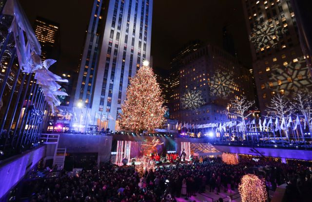 Attendees at the 86th annual Rockefeller Center Christmas Tree Lighting Ceremony in New York.