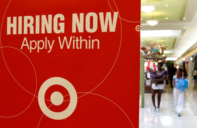 Target Store On this photo, a Target store advertises for employment, in Daly City, Calif. Retailers including Toys R Us, Pier 1 and Borders plan to hire more temporary holiday workers this season than last year, emboldened by several months of sales gains and a slowly improving economy. While such jobs will be an early Christmas present for some of America's unemployed, they're unlikely to make a dent in the stubbornly high unemployment rateHoliday Hiring, Daly City, USA