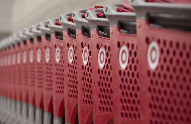 Shopping carts outside a Target department store in Woburn, Massachusetts, USA 25 October 2017. Target Corporation is the second largest discount retail store in the United States to Walmart, and is traded on the NYSE as TGT.Target department store in Woburn, USA - 25 Oct 2017