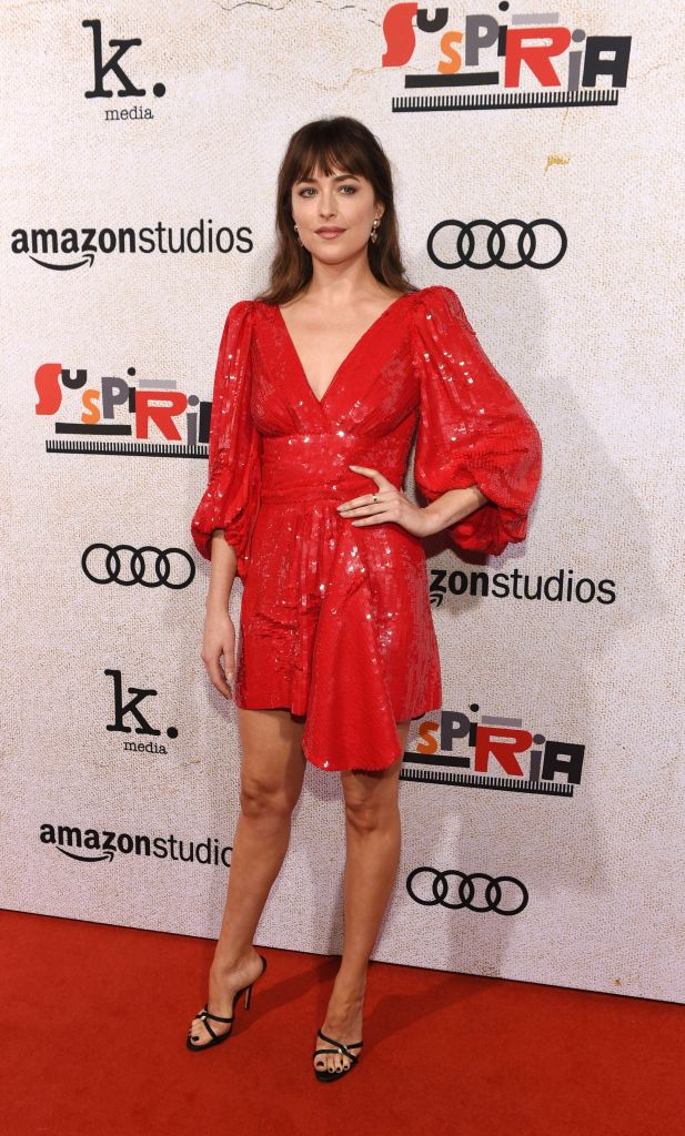 """Dakota Johnson, a cast member in """"Suspiria,"""" poses at the premiere of the film at the ArcLight Hollywood, in Los AngelesLA Premiere of """"Suspiria"""", Los Angeles, USA - 24 Oct 2018"""
