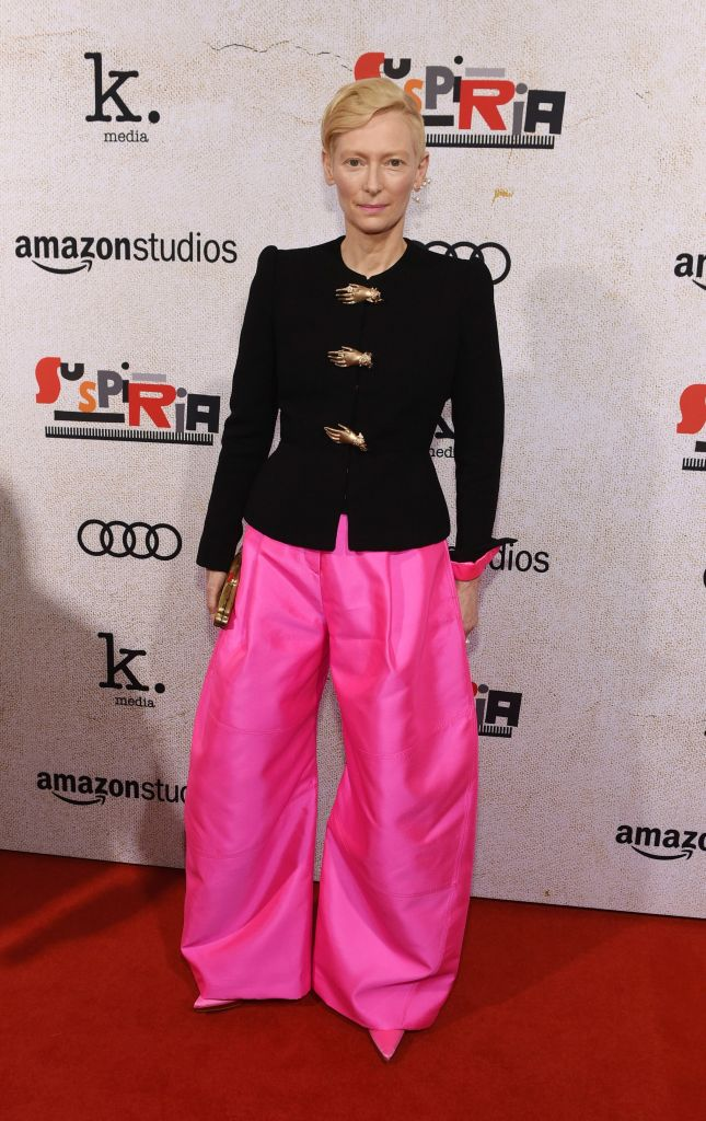 """Tilda Swinton, a cast member in """"Suspiria,"""" poses at the premiere of the film at the ArcLight Hollywood, in Los AngelesLA Premiere of """"Suspiria"""", Los Angeles, USA - 24 Oct 2018"""