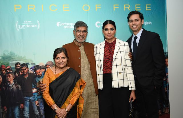 """Kailash Satyarthi, Sumedha Kailash, Rachel Roy, Rajendra Roy. Indian children's rights activist and Nobel Peace Prize recipient Kailash Satyarthi, left, and wife Sumedha Kailash, designer and UN Women Ambassador for Innovation Rachel Roy and The Celeste Bartos Chief Curator of Film at MoMA Rajendra Roy attend a special screening of """"The Price of Free"""" at the Museum of Modern Art, in New YorkNY Special Screening of """"The Price of Free"""", New York, USA - 01 Nov 2018"""