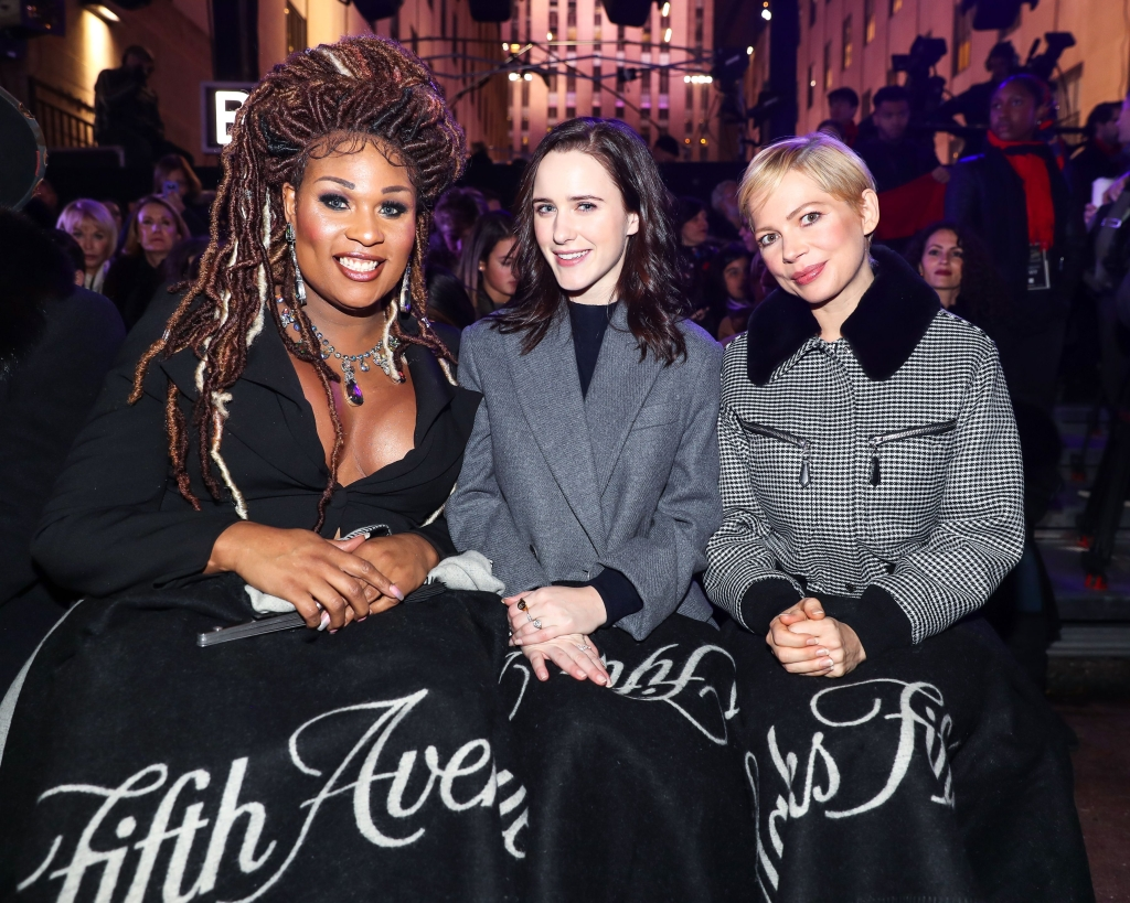 Peppermint, Rachel Brosnahan, Michelle Williams'Theater of Dreams' holiday windows and light show, New York, USA - 19 Nov 2018
