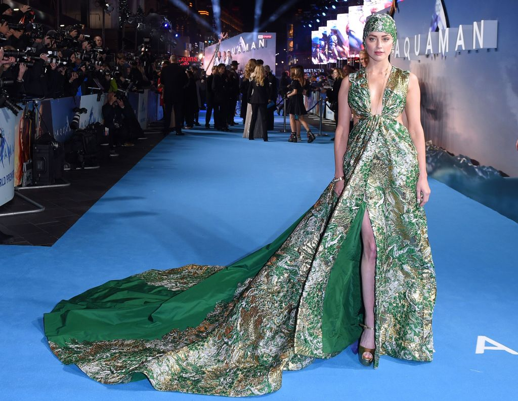 Amber Heard'Aquaman' film premiere, London, UK - 26 Nov 2018 Wearing Valentino Same Outfit as Catwalk Model *9731965bg