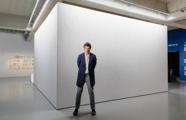 "Stefan Sagmeister outside of ""The Sensory Room"" in Vienna."