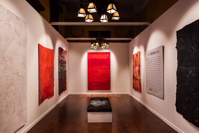 The Eileen Fisher DesignWork installation features wall hangings made from recycled textiles by artist Sigi Ahi.