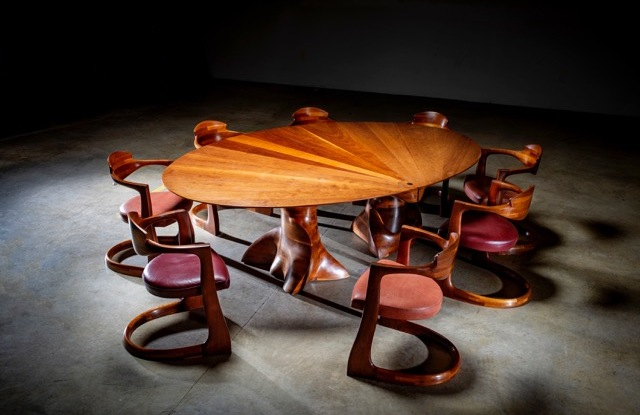 The Wendell Castle dining set at Wexler Gallery