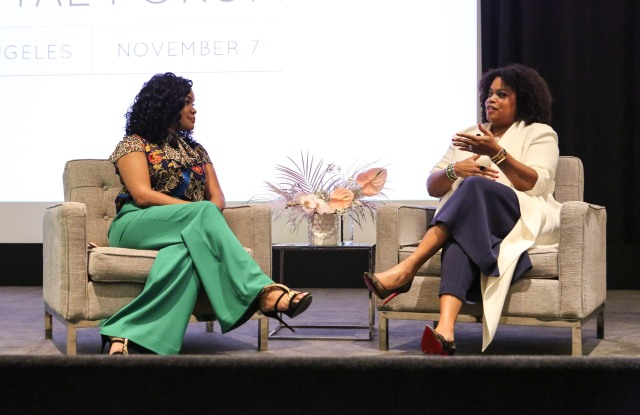 Dawn Reese, executive vice president of client solutions at StyleHaul discusses influencer marketing with Tiffani D. Carter-Thompson, vice president of U.S. integrated communications at Shiseido Cosmetics Americas at WWD's Digital Forum in Los Angeles on Wednesday.