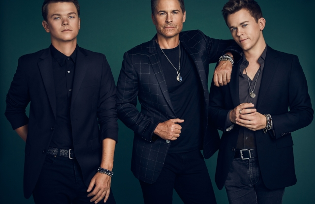 Rob Lowe and his sons wearing Mr. Lowe jewelry