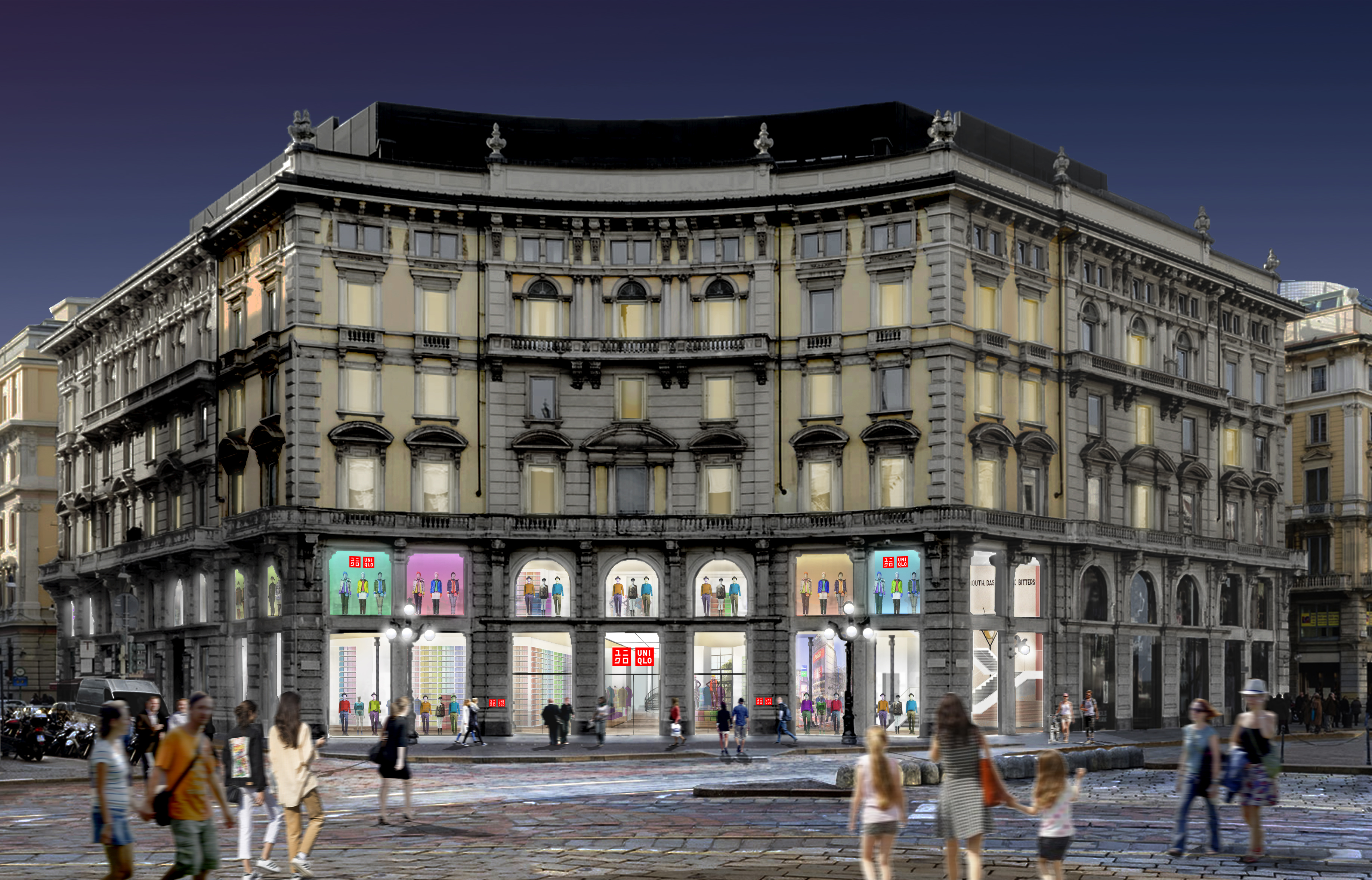 A mock up of the planned Milan Uniqlo store.