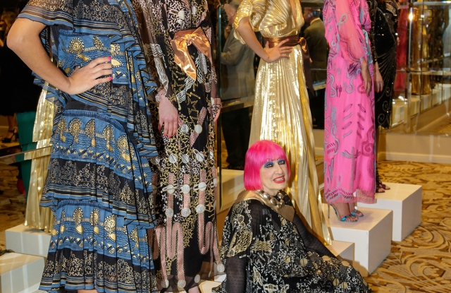 Zandra Rhodes with models in her designs.