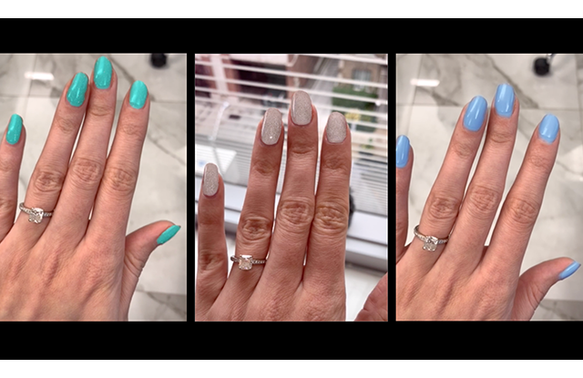 Trying on nail color virtually with ModiFace technology app.