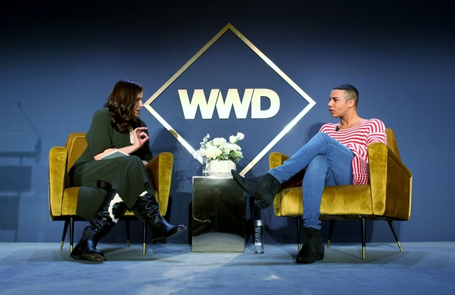 Bridget Foley and Olivier Rousteing at the WWD Apparel and Retail CEO Summit