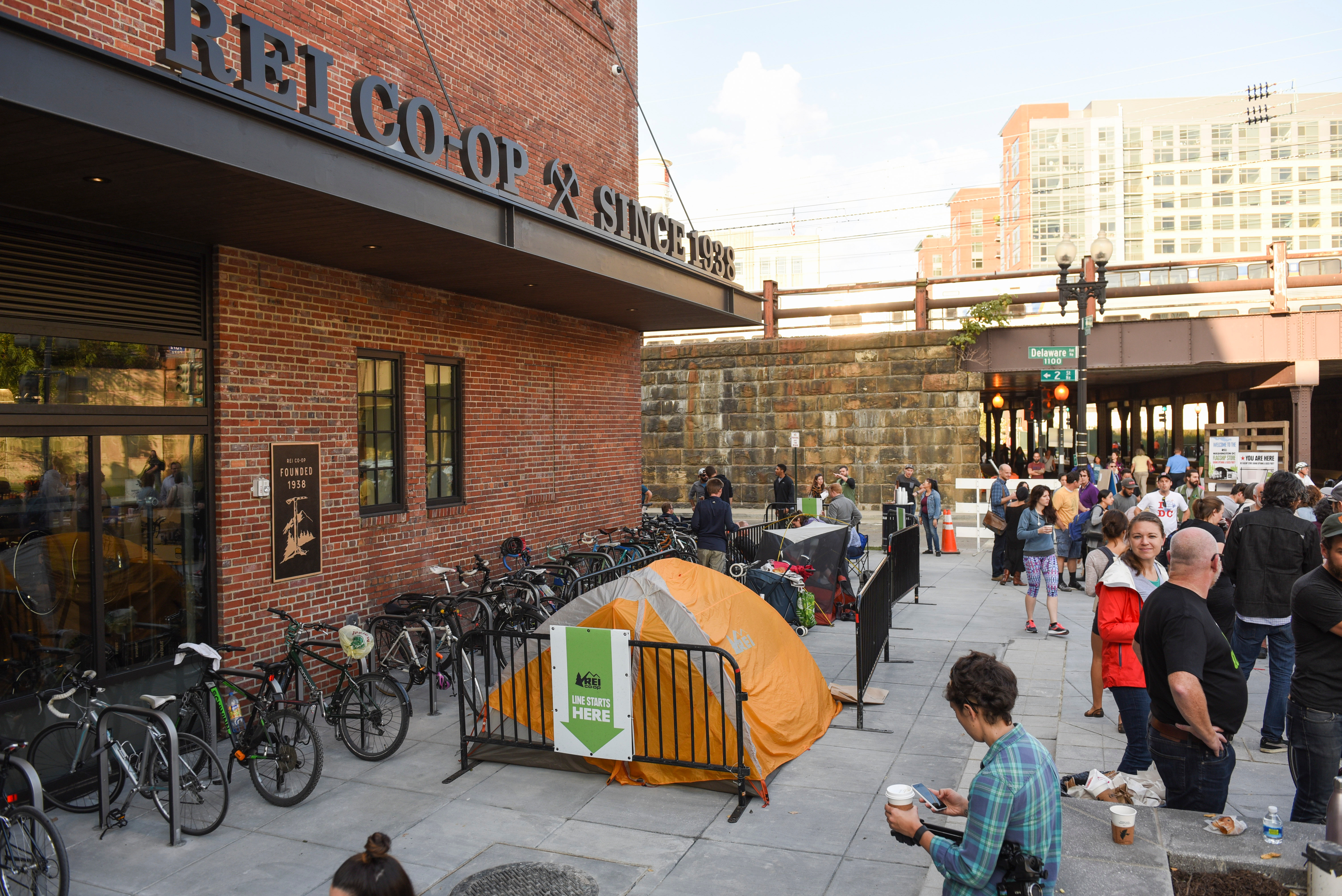 Outdoor enthusiasts camp and line up for the REI DC Flagship Grand Opening & Block Party on in Washington, D.C. REI, a national outdoor co-op, opened in the historic Washington U-line ArenaREI DC Flagship Grand Opening, Washington, USA - 21 Oct 2016