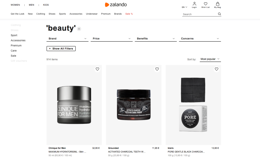Zalando's beauty section for men.